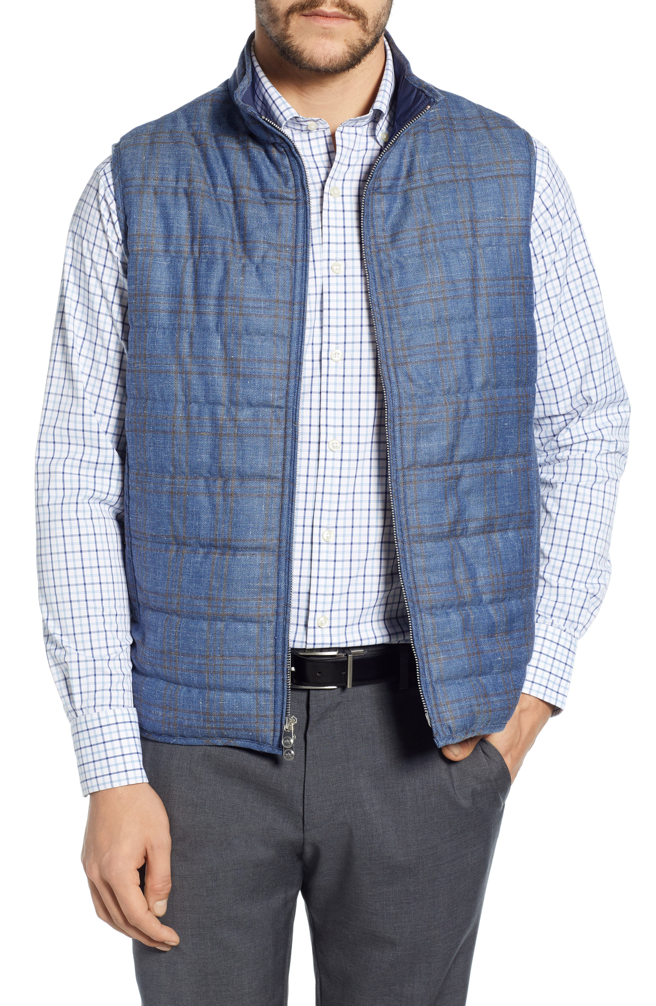 Peter Millar Springtime Countryside Quilted Wool Vest, Blue