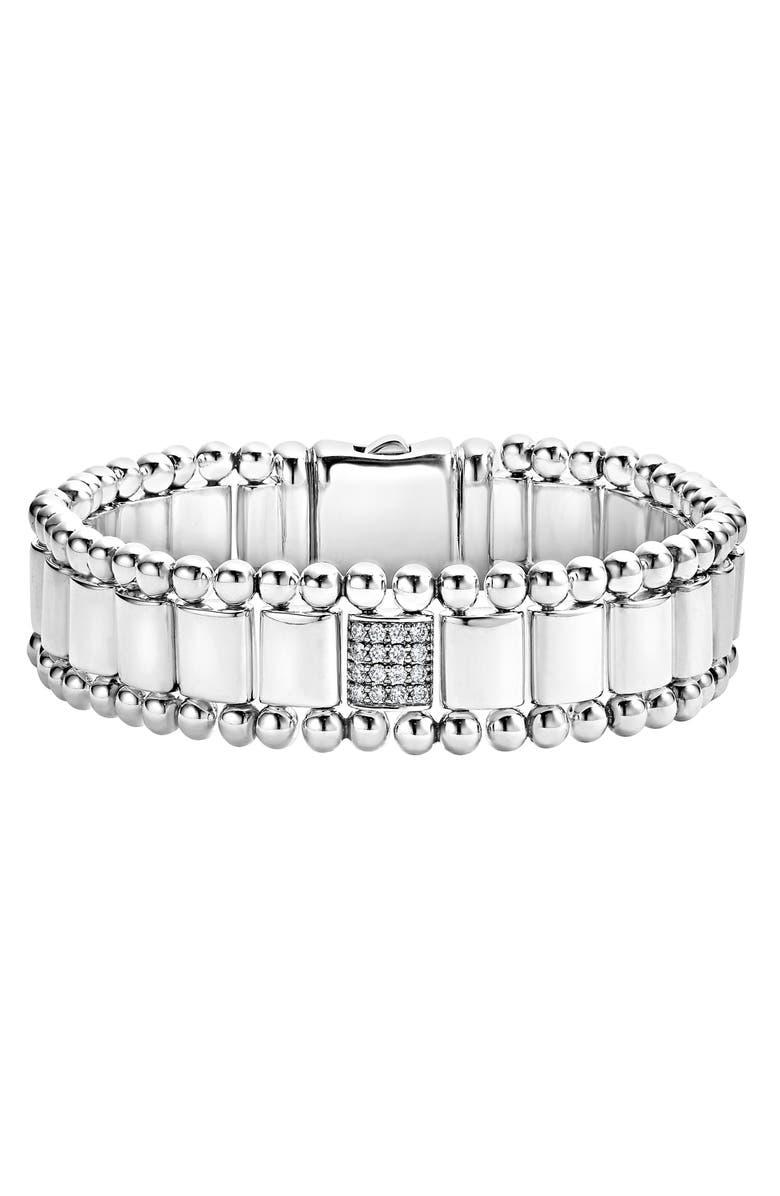LAGOS Caviar Spark Pavé Diamond Link Bracelet, Main, color, SILVER/ DIAMOND