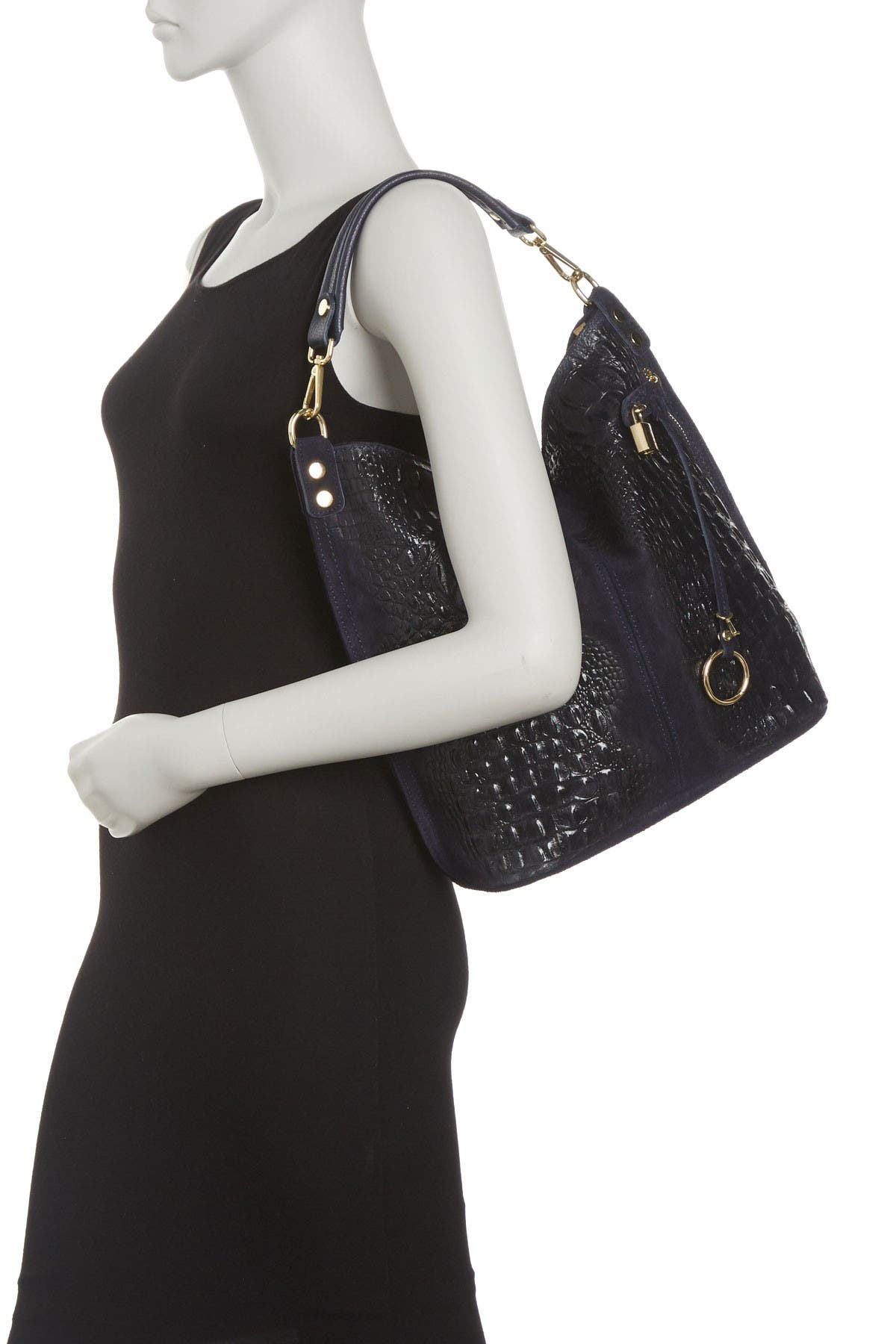 Image of Roberta M Croc Embossed Top Handle Tote Bag