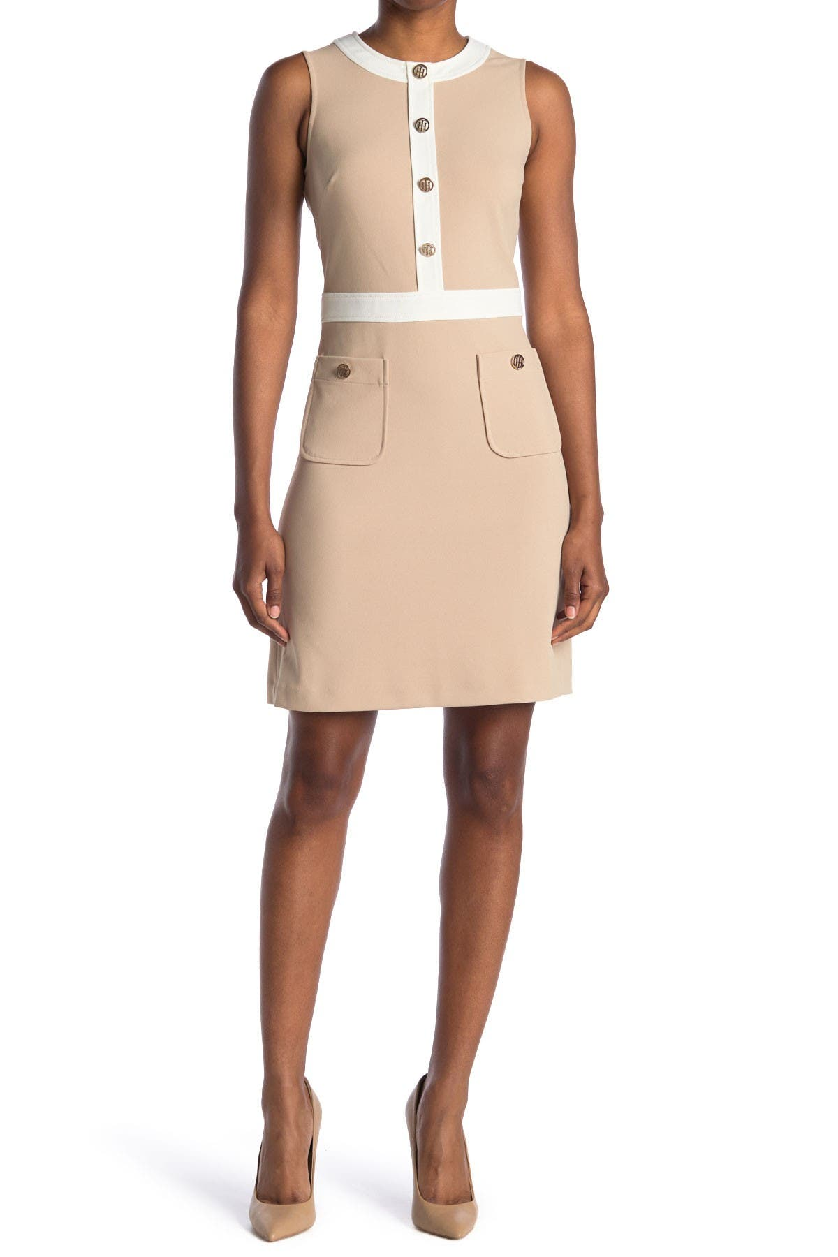 Image of Tommy Hilfiger Sleeveless Scuba A-Line Dress