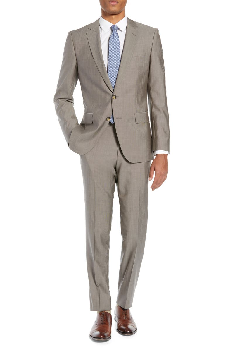 BOSS Huge/Genius Slim Fit Solid Wool & Silk Suit, Main, color, 266