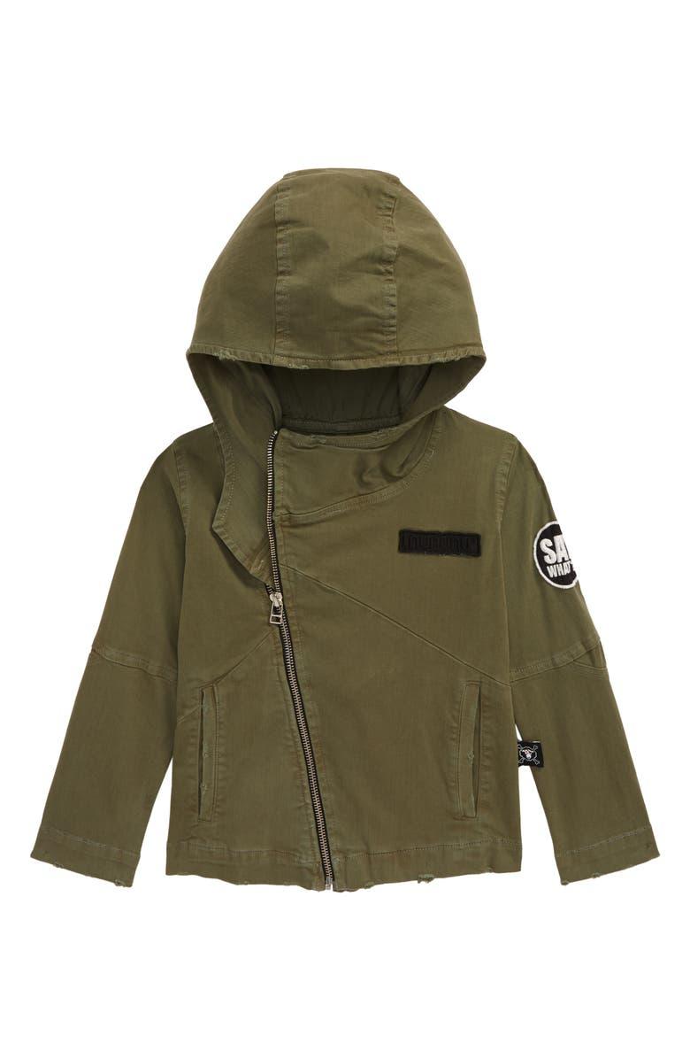 NUNUNU Hooded Biker Jacket, Main, color, 301