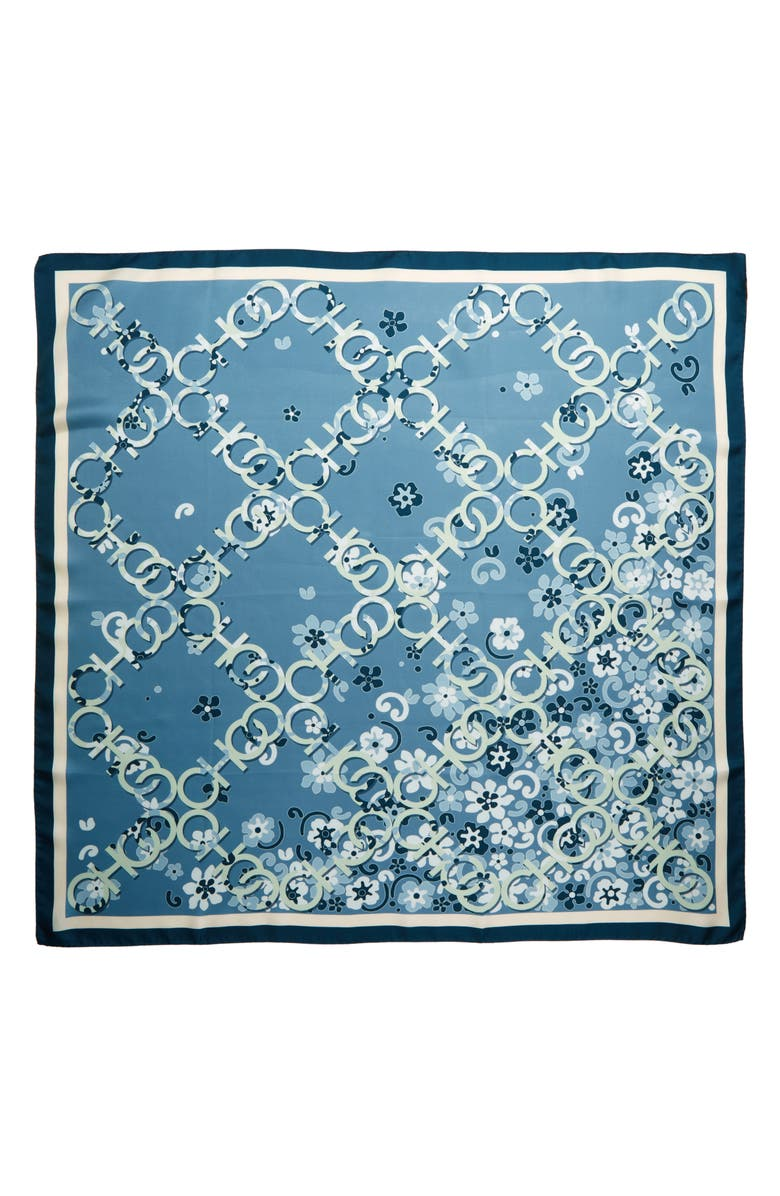 JIMMY CHOO Floral Logo Silk Scarf, Main, color, STONE BLUE