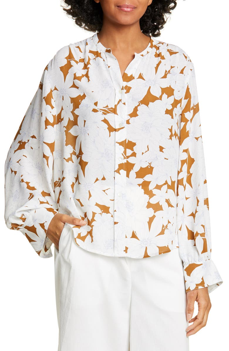 VINCE Tropical Blooms Shirred Blouse, Main, color, TEAKWOOD