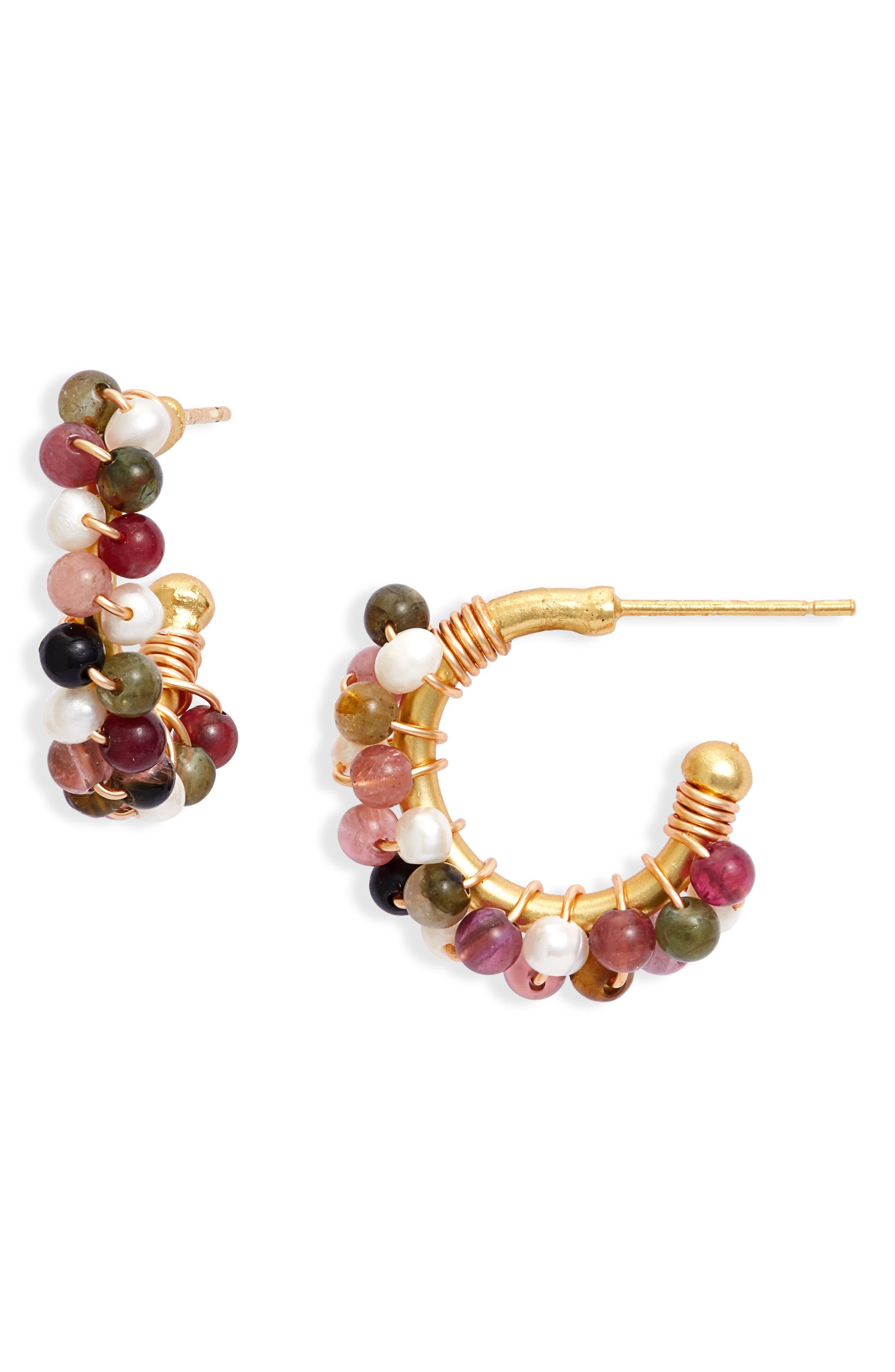 Women's Crisobela Jewelry Doblememente Guapa Freshwater Pearl & Tourmaline Hoop Earrings