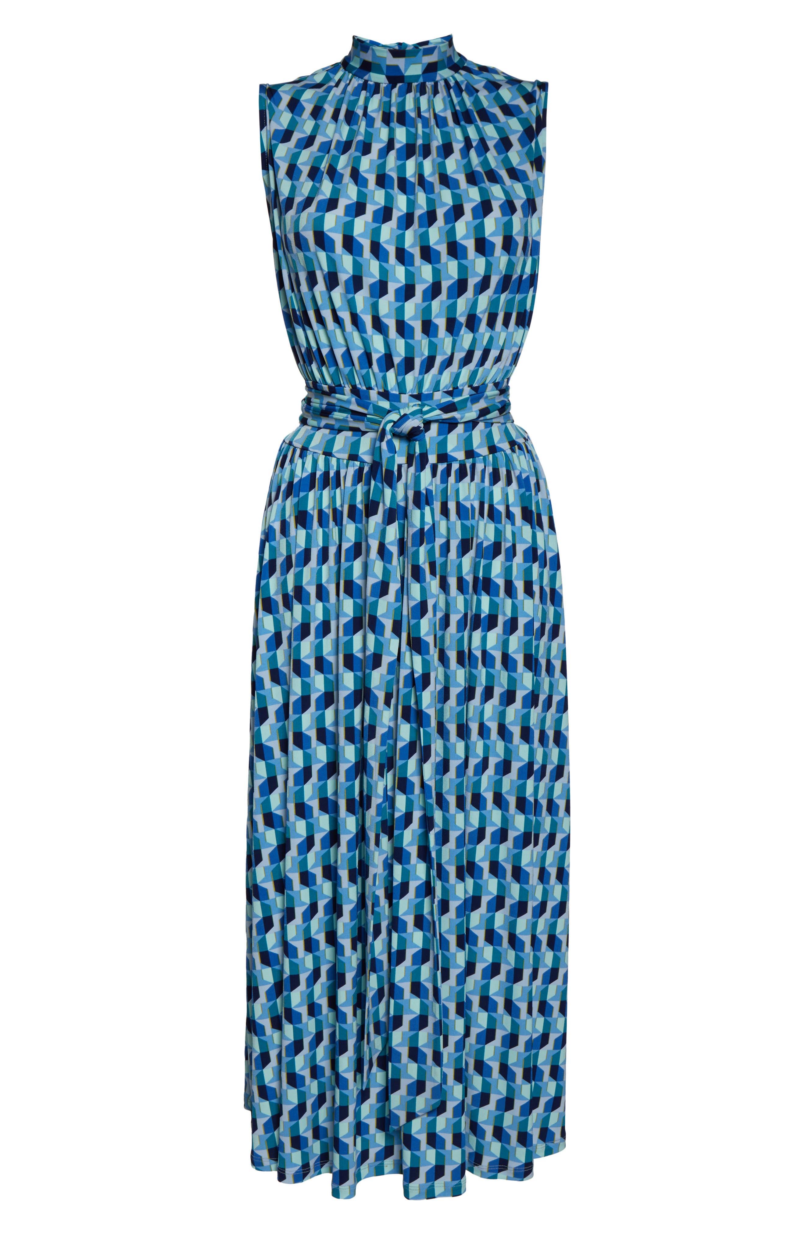,                             Mindy Shirred Midi Dress,                             Alternate thumbnail 7, color,                             AZURE BLUE