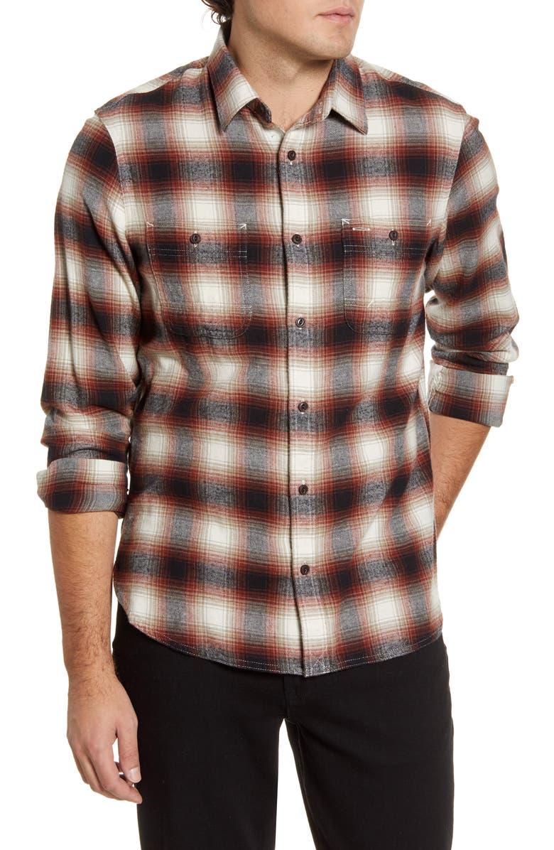 1901 Workwear Trim Fit Plaid Button-Up Shirt, Main, color, IVORY RUST MAPLE PLAID