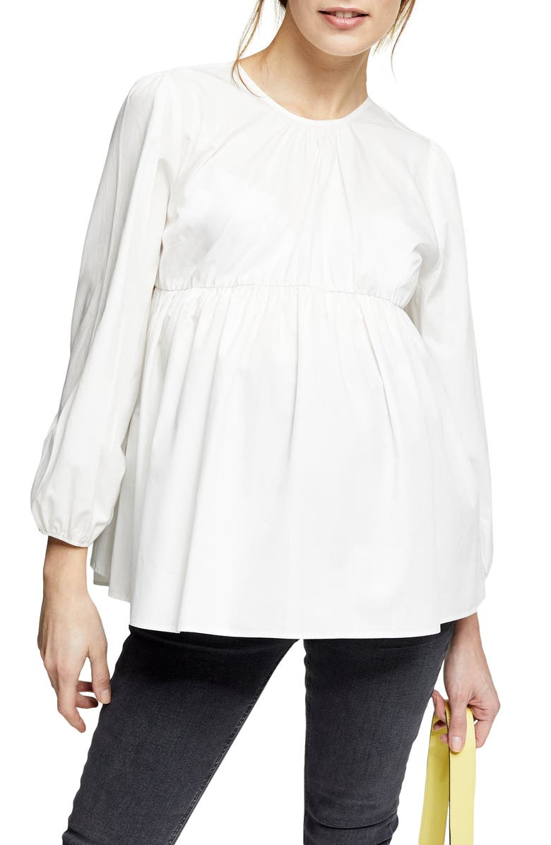 TOPSHOP Poplin Gathered Maternity Top, Main, color, IVORY