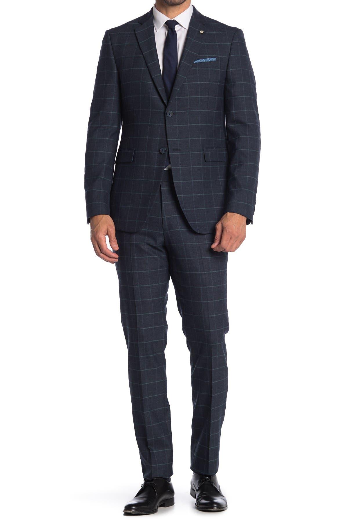 Image of Original Penguin Bright Blue Plaid Two Button Notch Lapel Wool Blend Suit