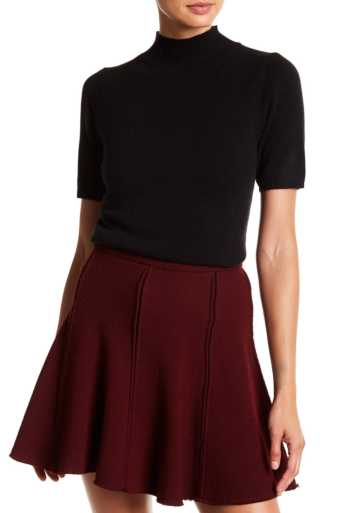 Image of In Cashmere Mock Neck Short Sleeve Cashmere Sweater