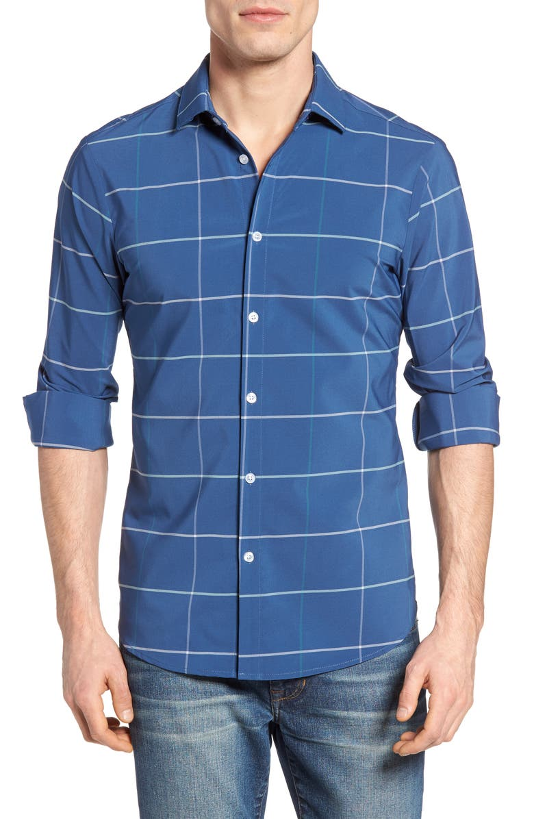 MIZZEN+MAIN Chesapeake Windowpane Performance Sport Shirt, Main, color, 400