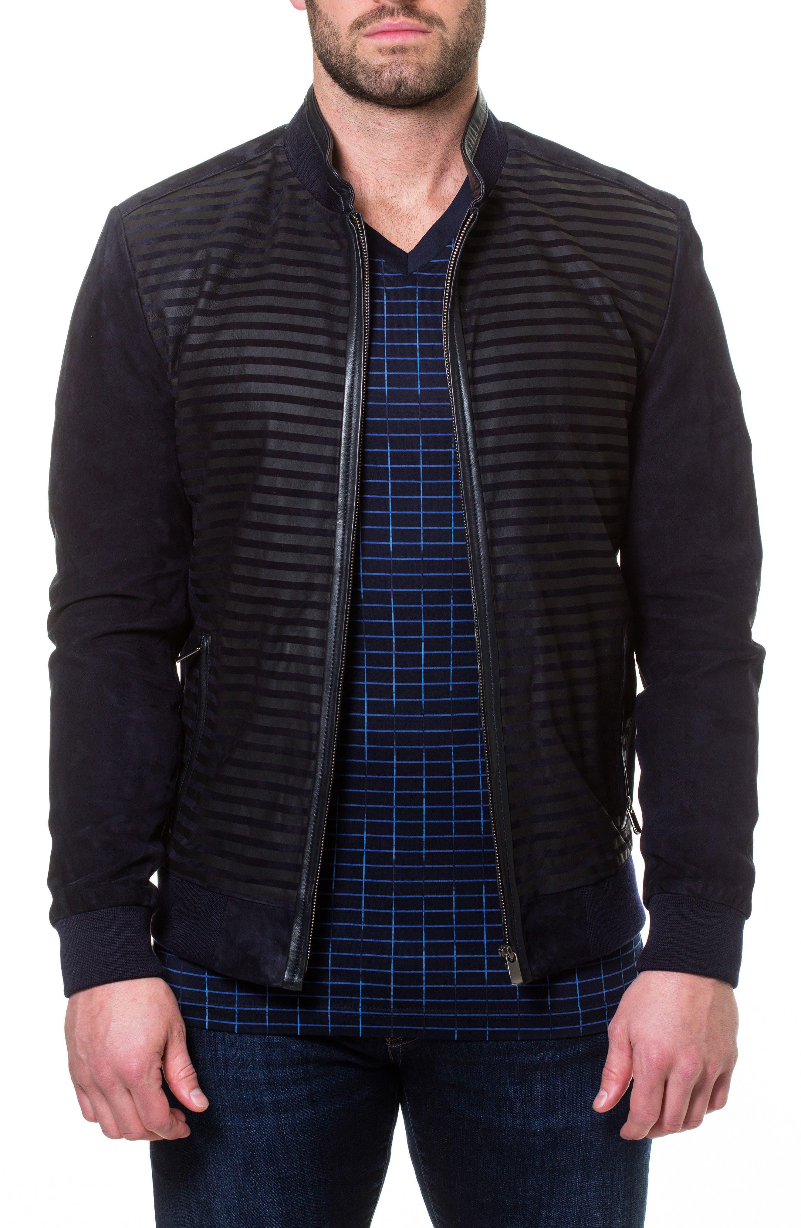 Maceoo Stripe Suede Bomber Jacket, Blue