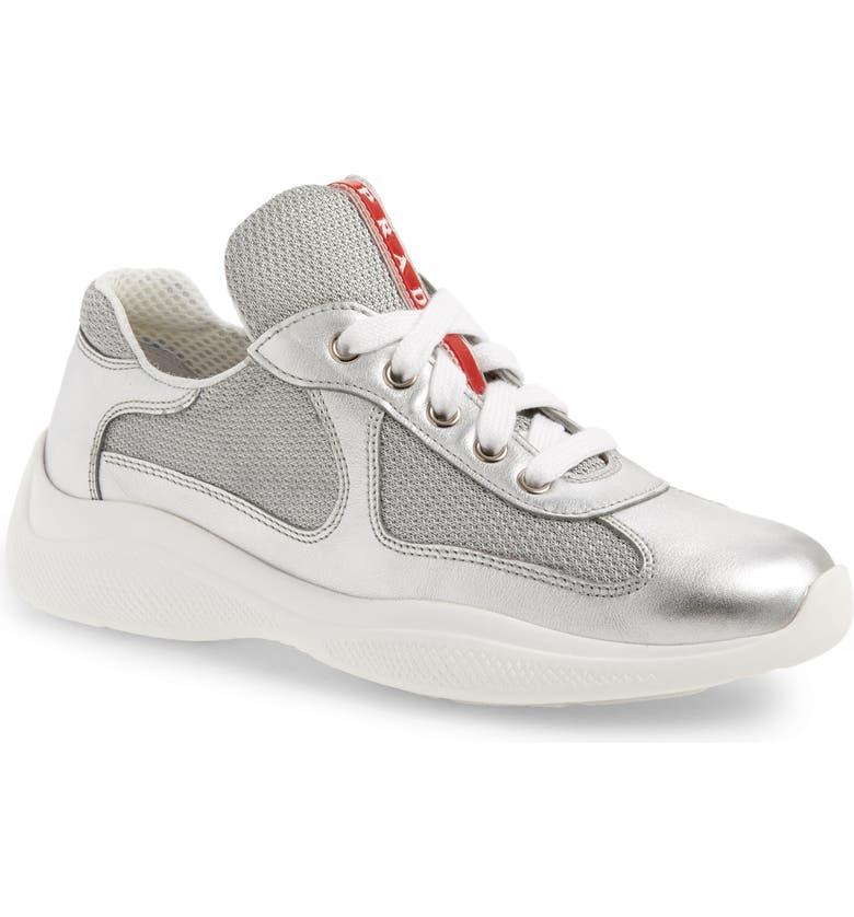 PRADA Low-Top Sneaker, Main, color, METALLIC SILVER