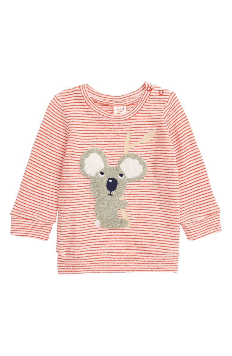 SEED HERITAGE Koala Appliqué Terry Pullover, Main, color, BERRY