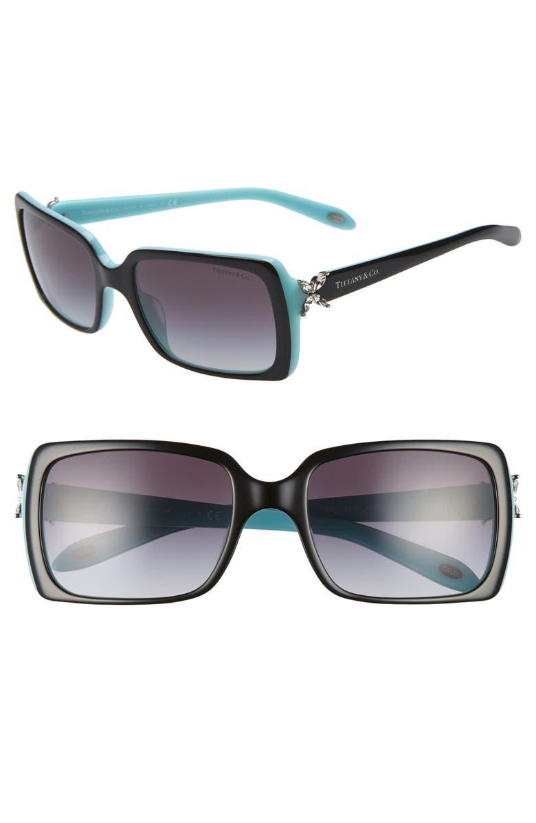 TIFFANY & CO. 55mm Square Sunglasses, Main, color, BLACK/ BLUE