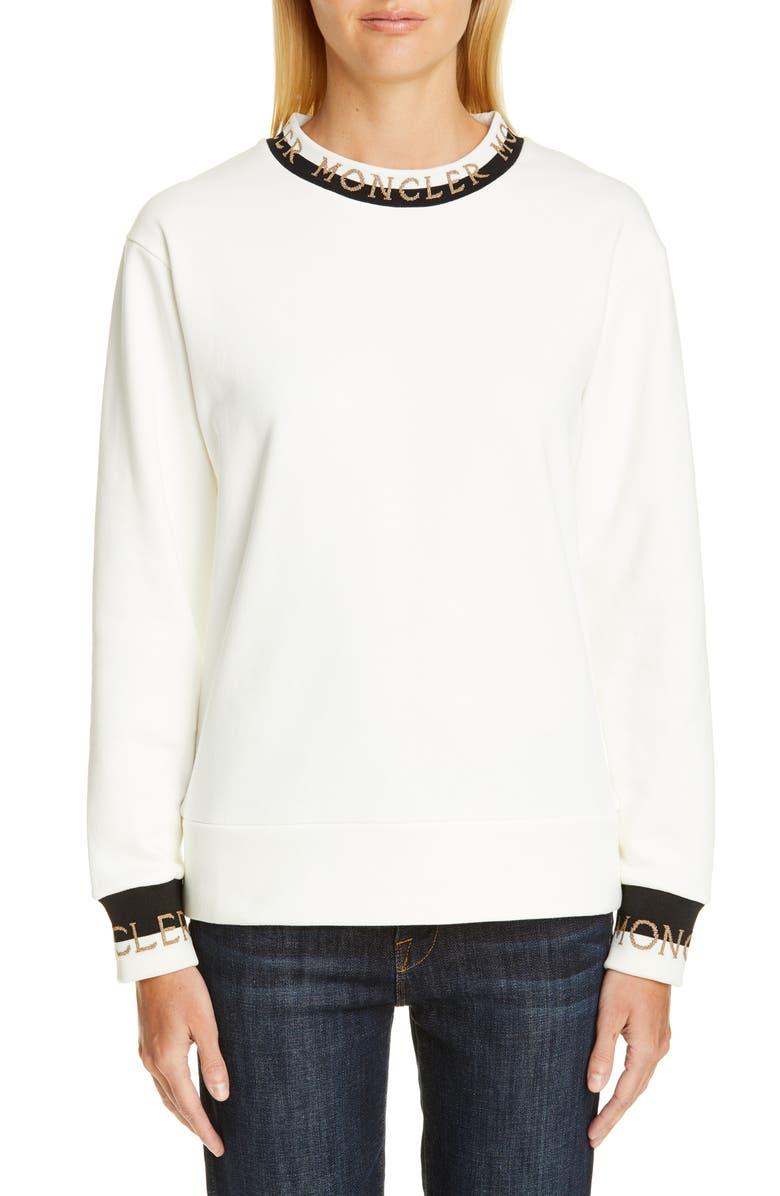 MONCLER Logo Cuff Sweatshirt, Main, color, 101
