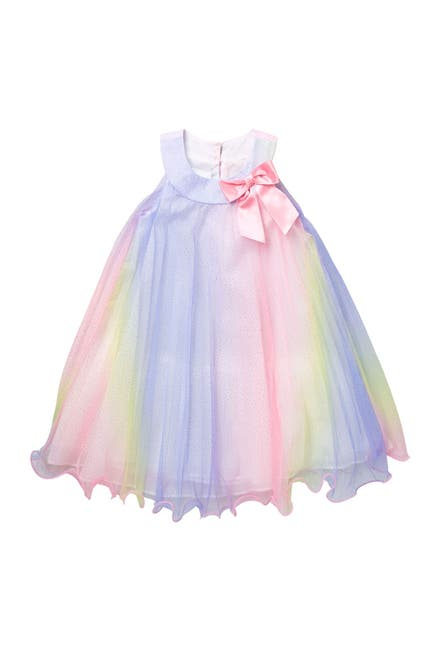 Image of GERSON & GERSON Rainbow Pleated Bow Dress