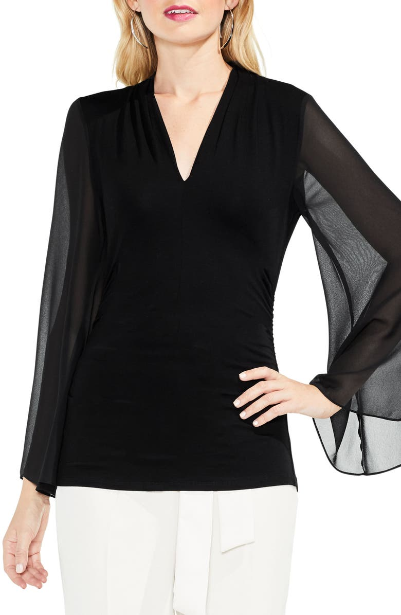 VINCE CAMUTO Bell Sleeve Side Ruched Chiffon Top, Main, color, RICH BLACK