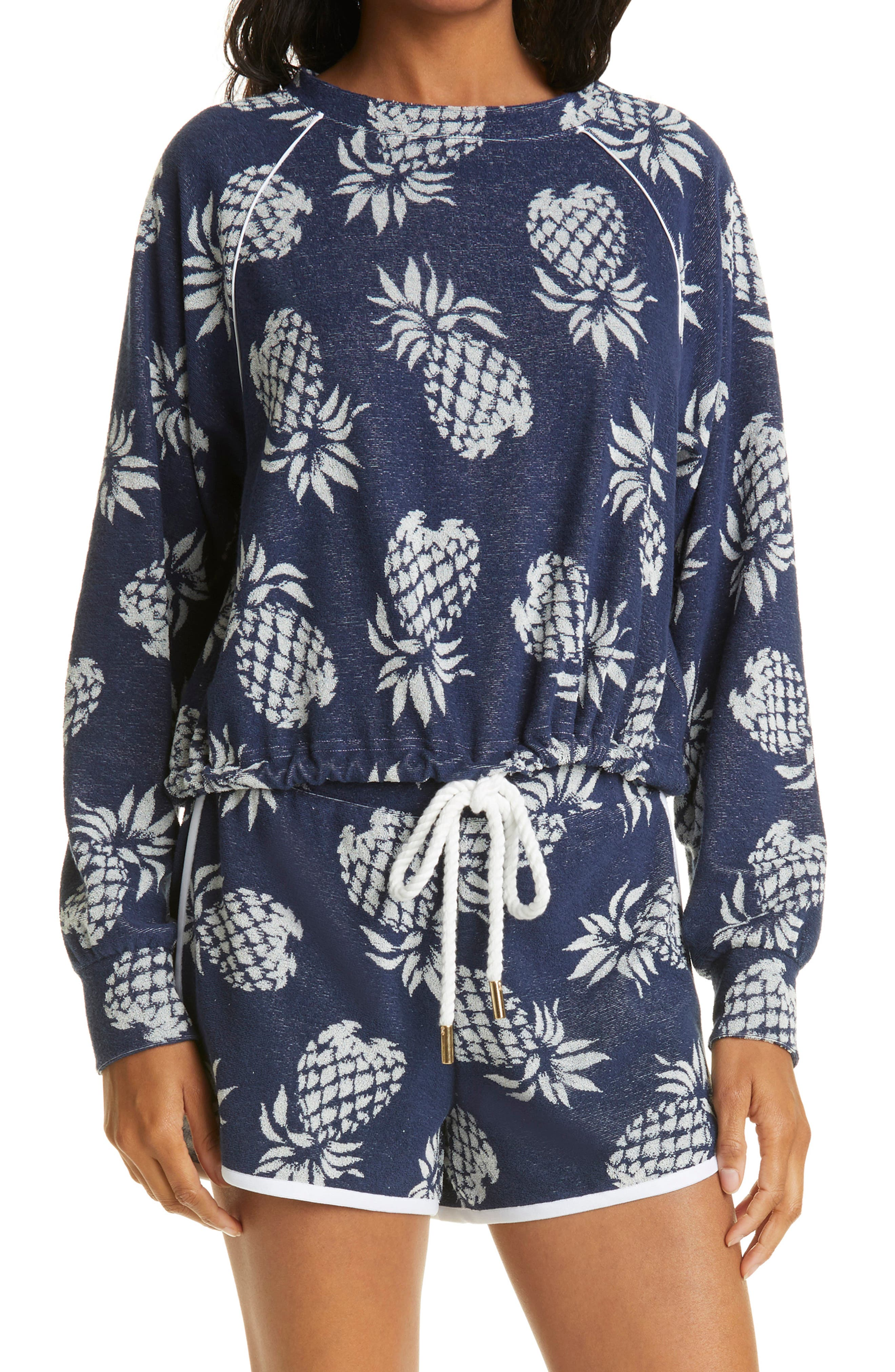 After Sundown Print Terry Cloth Pullover