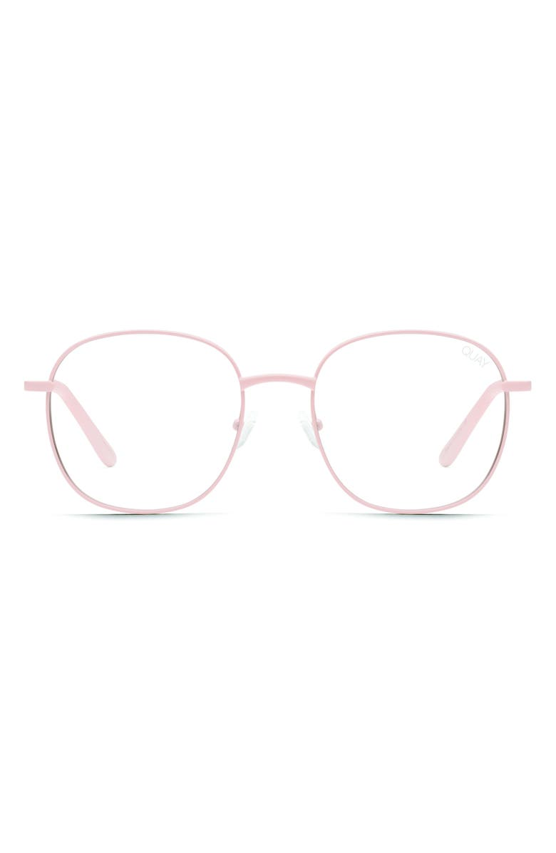 QUAY AUSTRALIA Jezabell 58mm Blue Light Blocking Glasses, Main, color, PINK/ CLEAR BLUE LIGHT