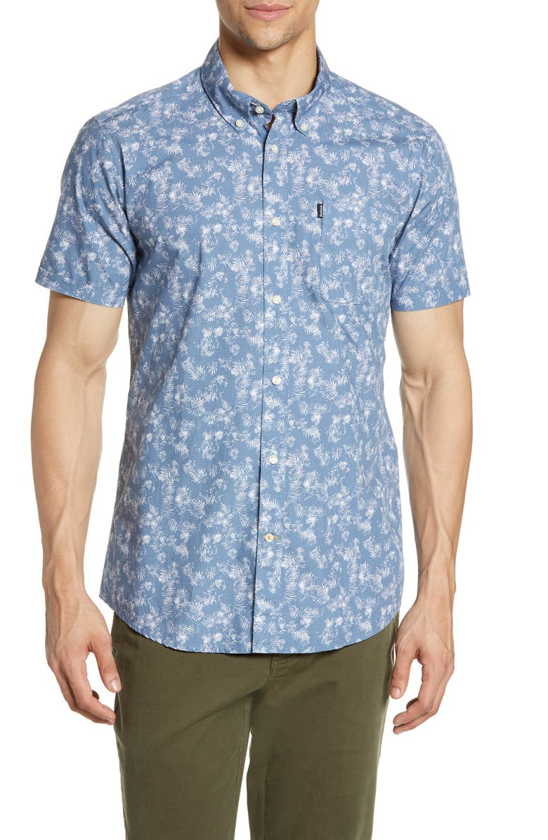 BARBOUR Tailored Fit Palm Print Woven Shirt, Main, color, CHAMBRAY