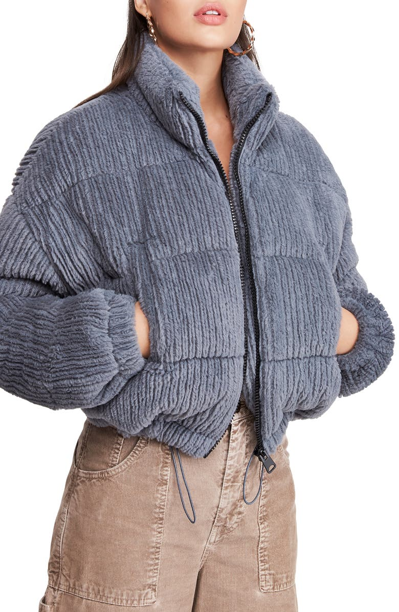 BDG Urban Outfitters Fluffy Corduroy Crop Puffer Jacket, Main, color, CHARCOAL