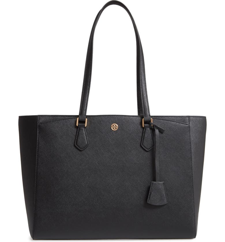 TORY BURCH Robinson Saffiano Leather Tote, Main, color, BLACK