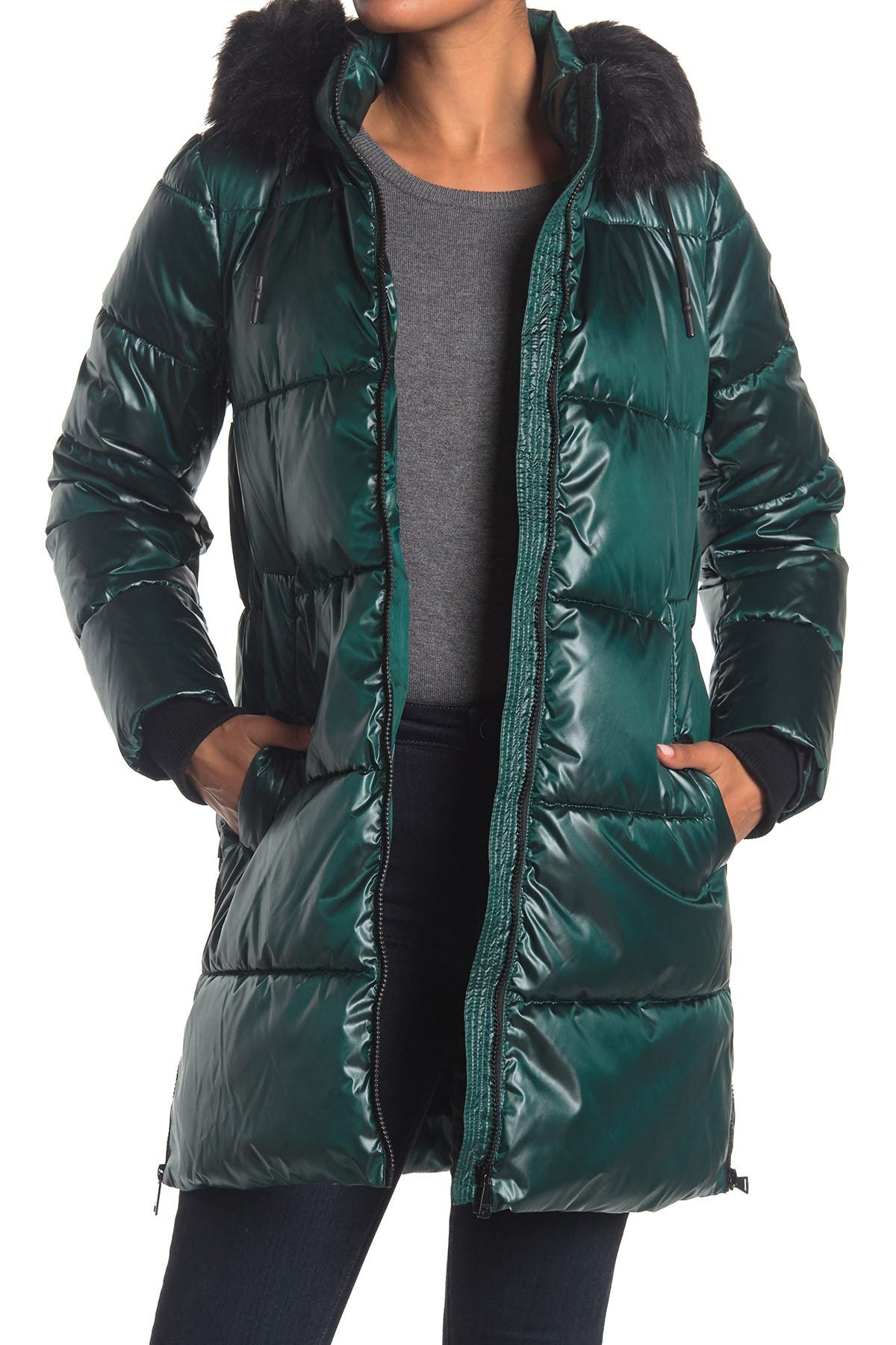 Image of DKNY Puffer With Faux Fur Trim Hood