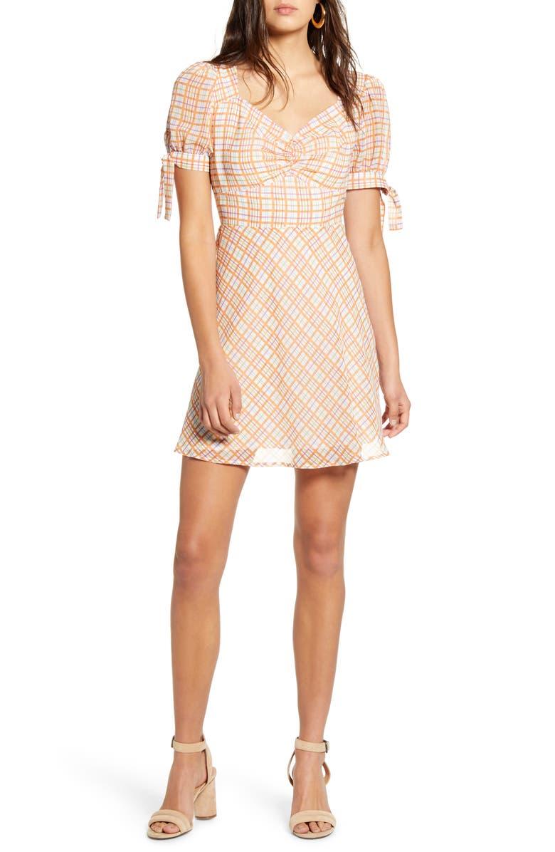 MOON RIVER Puff Sleeve Plaid Minidress, Main, color, 900