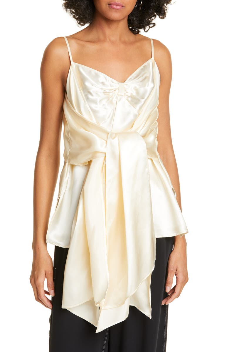 MM6 MAISON MARGIELA Front Sash Camisole, Main, color, IVORY