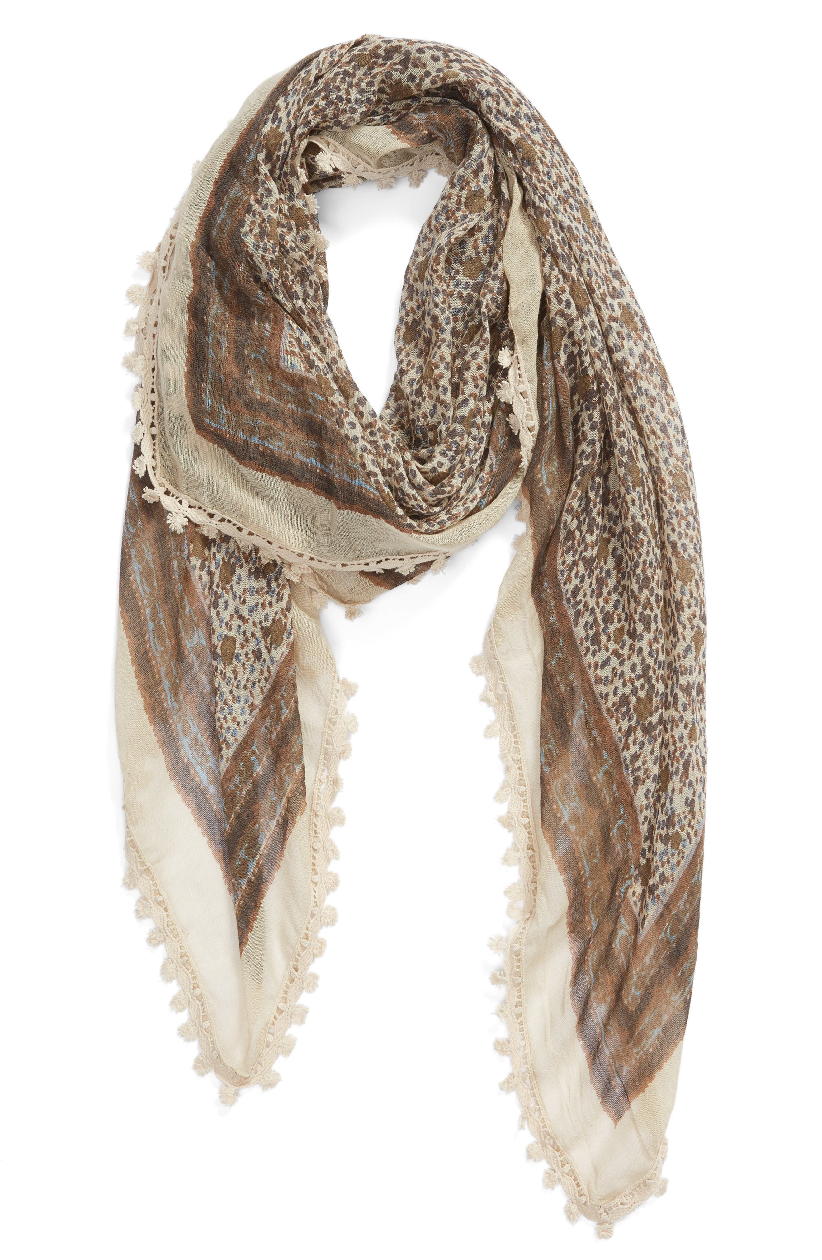 ,                             Print Gauze Scarf,                             Alternate thumbnail 2, color,                             OLIVE DITSY MEADOW