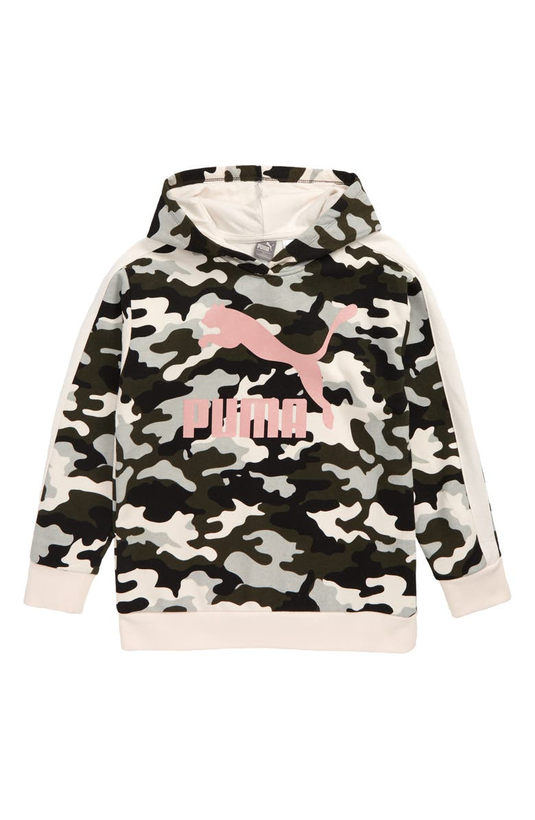 PUMA Glitter Logo Pullover Hoodie, Main, color, FOREST NIGHT