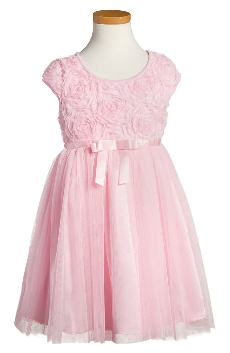 POPATU Ribbon Rosette Tulle Dress, Main, color, PINK