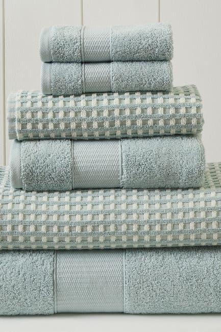 Image of Modern Threads Luxury Spa Cobblestone Quick Dry 6-Piece Towel Set - Blue