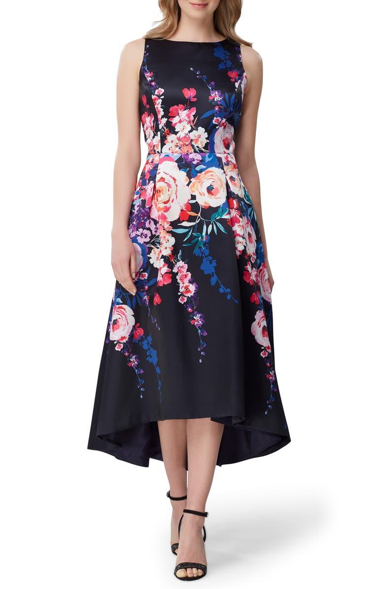 TAHARI Sleeveless Printed Mikado Gown, Main, color, CASCADE FLORAL BLACK