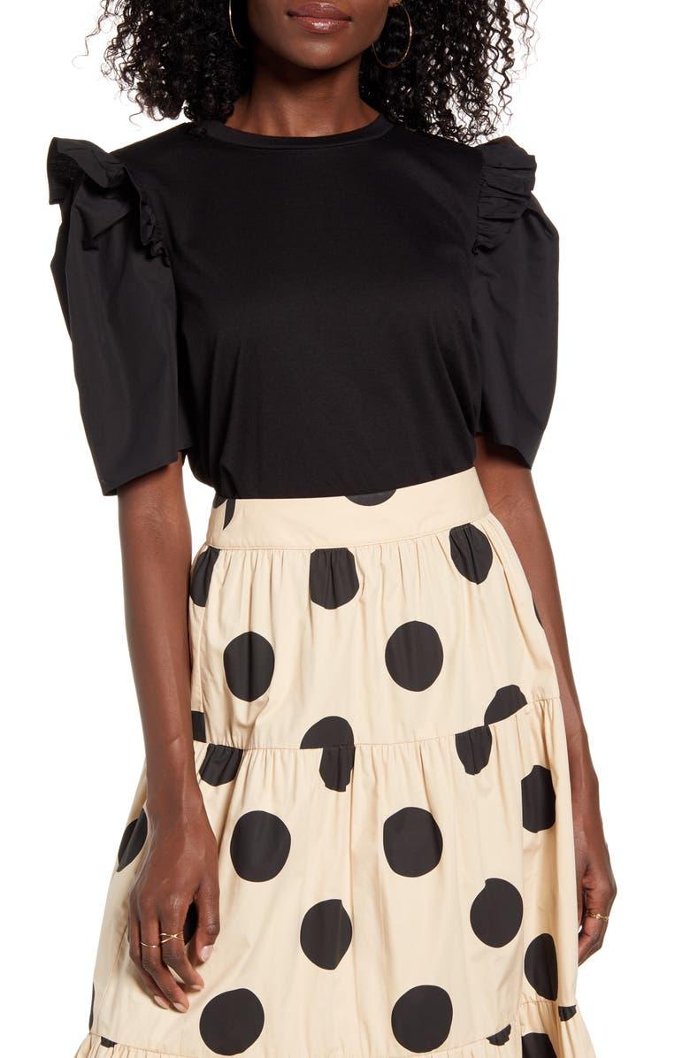 ENGLISH FACTORY Mini Ruffle Puff Sleeve T-Shirt, Main, color, BLACK