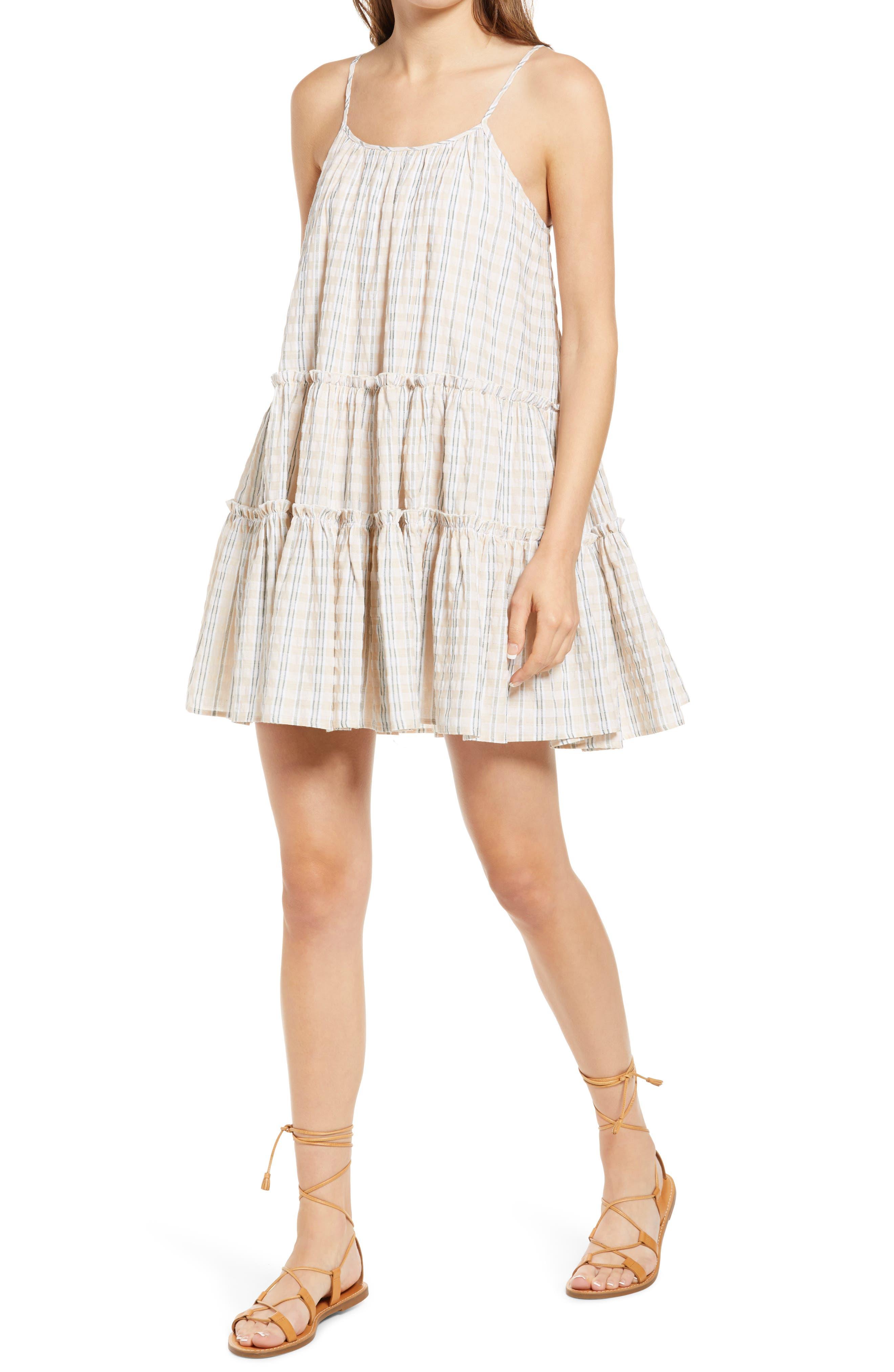 Nathalia Stripe Seersucker Trapeze Dress