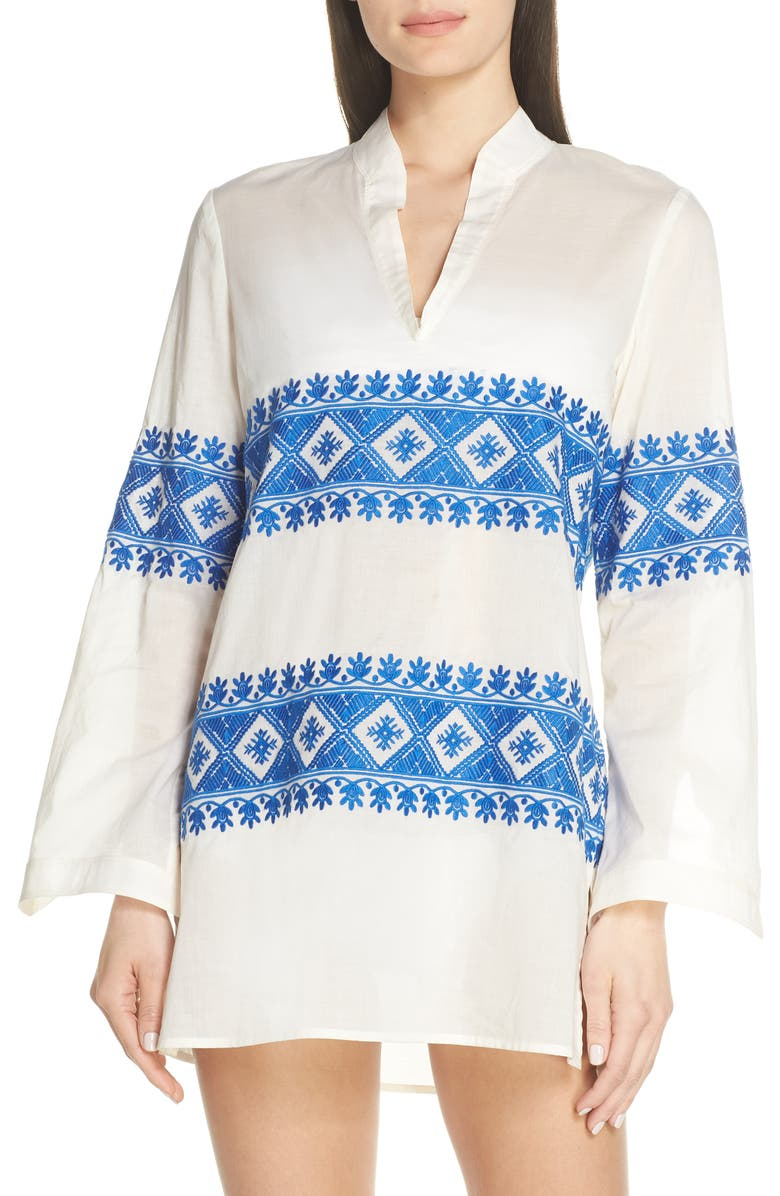 TORY BURCH Stephanie Embroidered Cover-Up Tunic, Main, color, NEW IVORY / BONDI BLUE