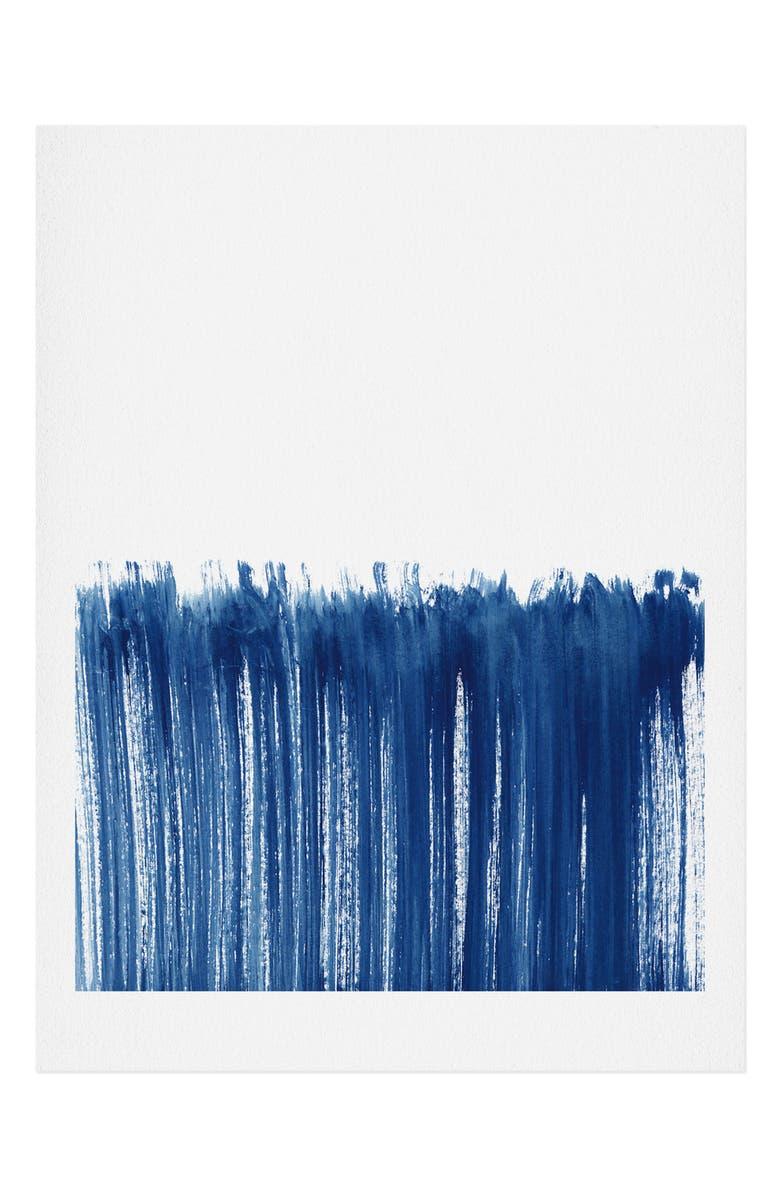 DENY DESIGNS Indigo Abstract Brush Strokes Framed Wall Art, Main, color, NO FRAME 11X14