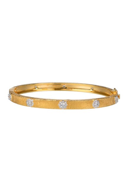 Image of CZ By Kenneth Jay Lane 14K Gold Plated Starburst CZ Bangle Bracelet