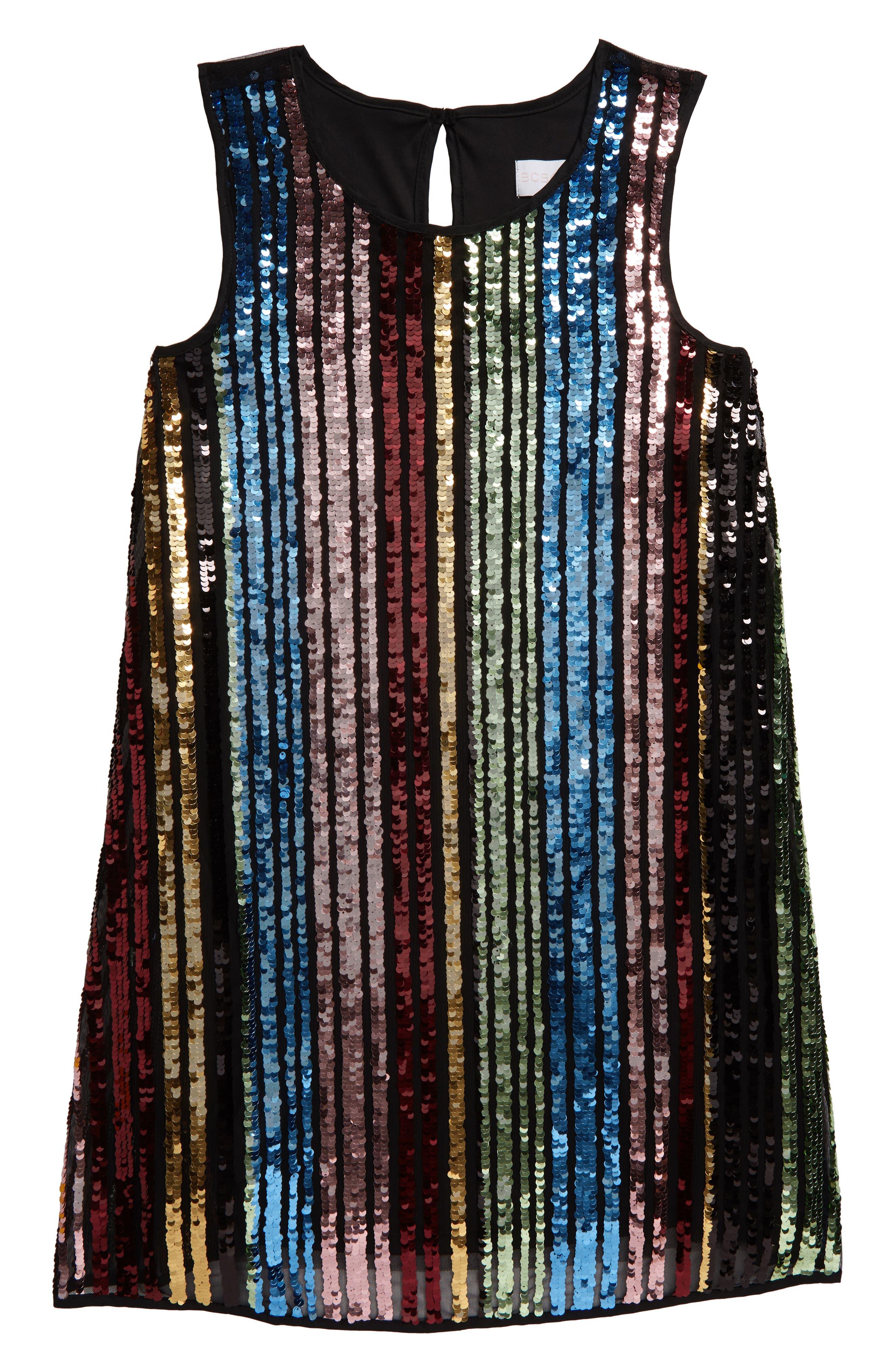60s 70s Kids Costumes & Clothing Girls & Boys Girls Bcbg Sequin Stripe Dress $58.00 AT vintagedancer.com