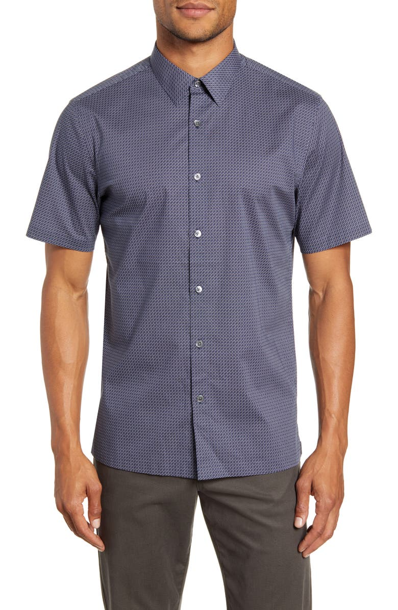 THEORY Irving Slim Fit Dot Print Short Sleeve Button-Up Shirt, Main, color, ECLIPSE MULTI