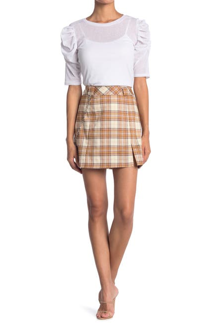 Image of Know One Cares Lurex Plaid Print Chain Detail Mini Skirt