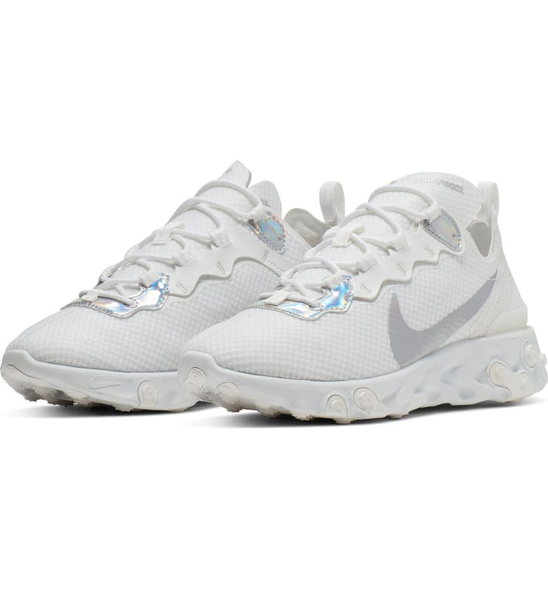 NIKE React Element 55 Sneaker, Main, color, SUMMIT WHITE/ METALLIC SILVER