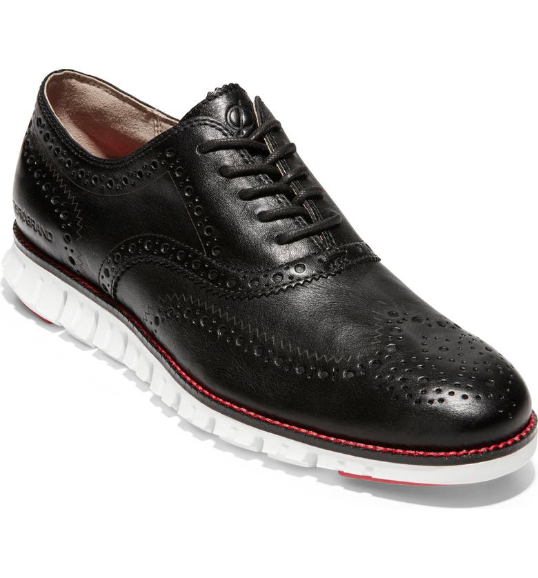 COLE HAAN 'ZeroGrand' Wingtip, Main, color, BLACK LEATHER/ OPTIC WHITE