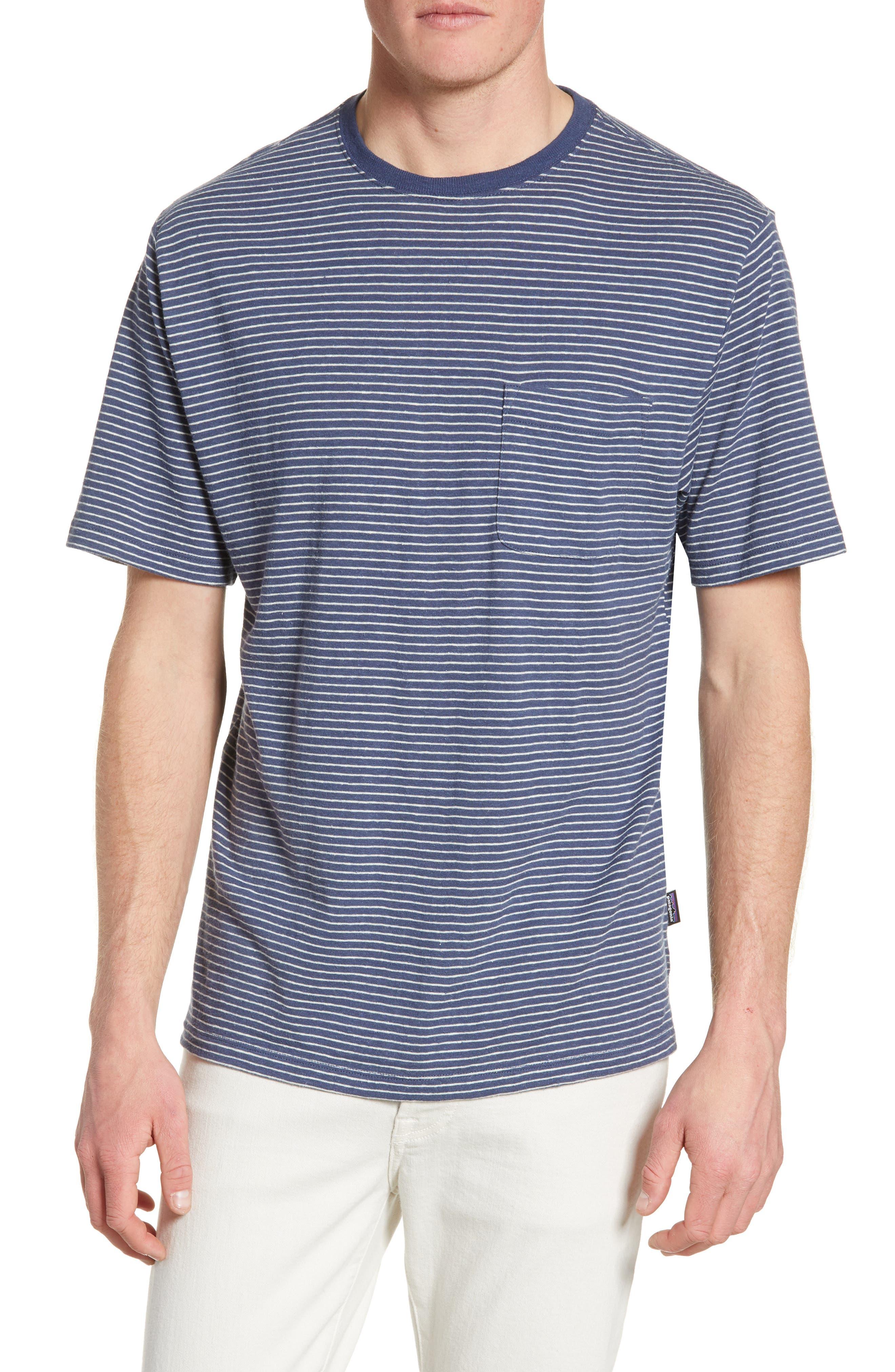 Patagonia Trail Harbor Stripe Pocket T-Shirt, Blue