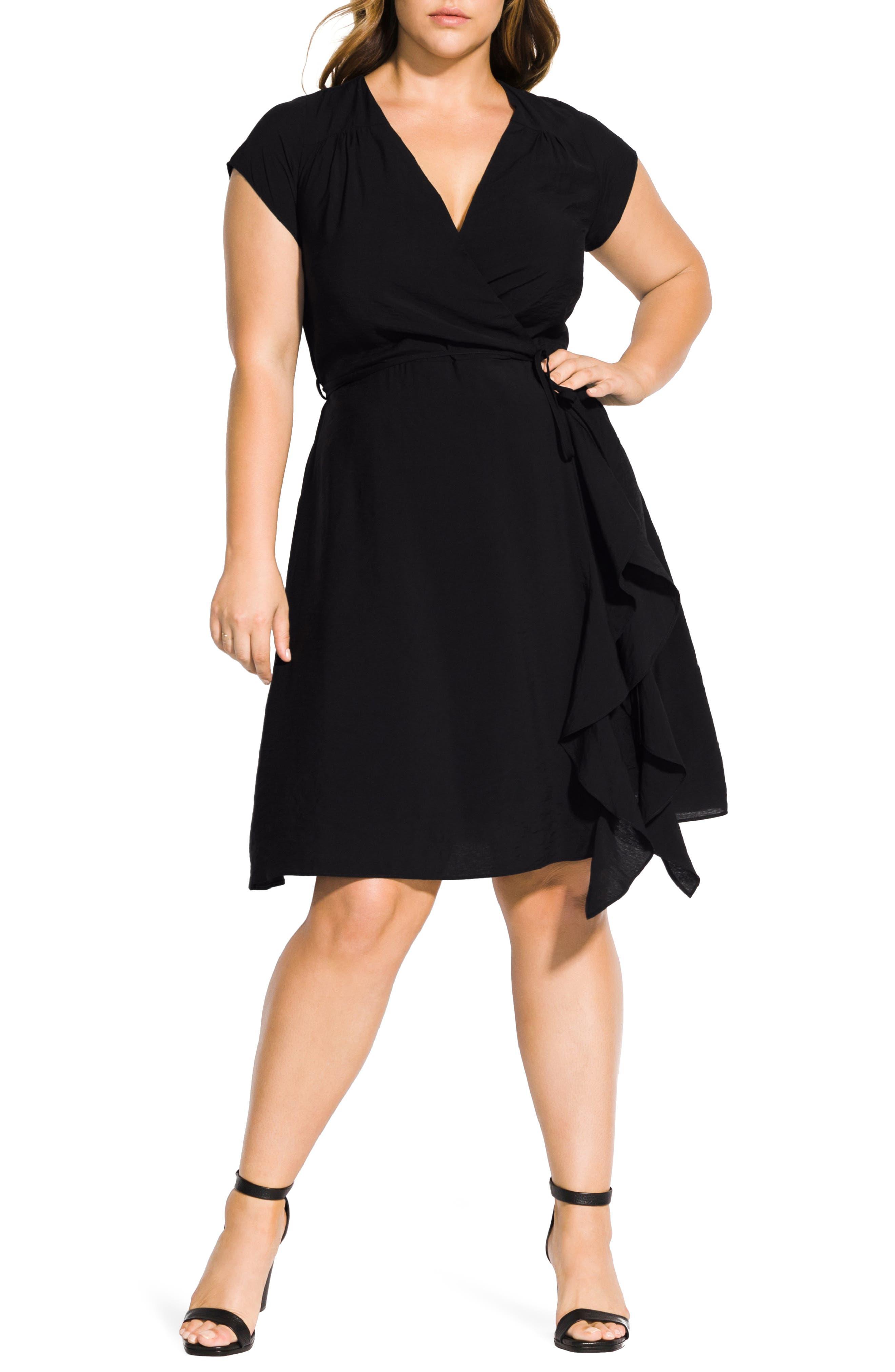 1940s Plus Size Dresses | Swing Dress, Tea Dress Plus Size Womens City Chic Ruffled Satin Faux Wrap Dress Size XX-Large - Black $69.30 AT vintagedancer.com