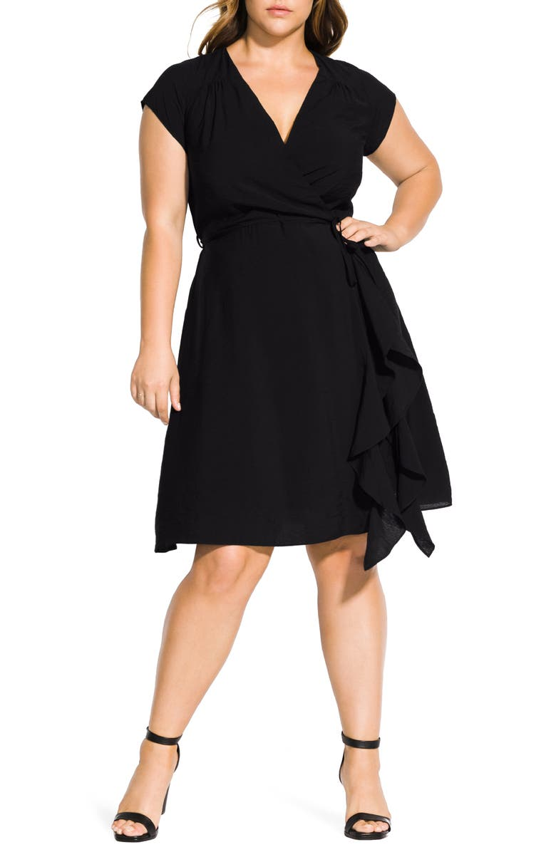 CITY CHIC Ruffled Satin Faux Wrap Dress, Main, color, BLACK