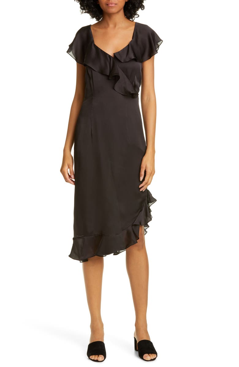 OPENING CEREMONY Cascade Ruffle Silk Dress, Main, color, BLACK