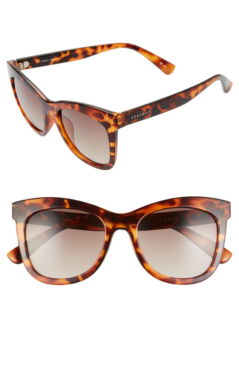 SEAFOLLY Manly 52mm Cat Eye Sunglasses, Main, color, DARK TORTOISE/ BROWN